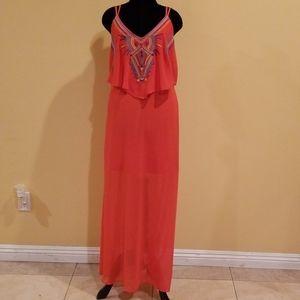 Xhilaration Strappy Orange Maxi Dress Size Medium